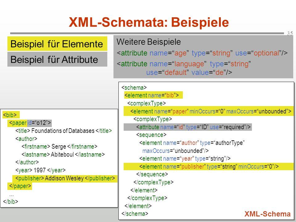 35 XML-Schemata: Beispiele XML-Schema Foundations of Databases Serge Abiteboul 1997 Addison Wesley... Weitere Beispiele Beispiel für Elemente Beispiel