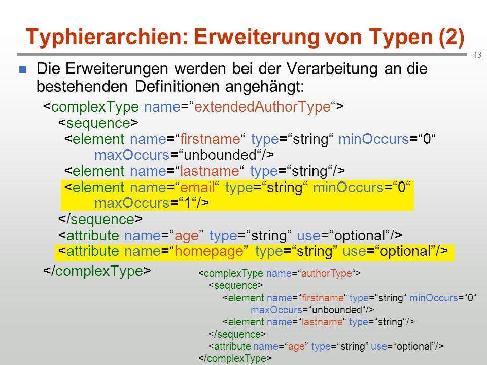 43 Typhierarchien: Erweiterung von Typen (2) Die Erweiterungen werden bei der Verarbeitung an die bestehenden Definitionen angehängt: