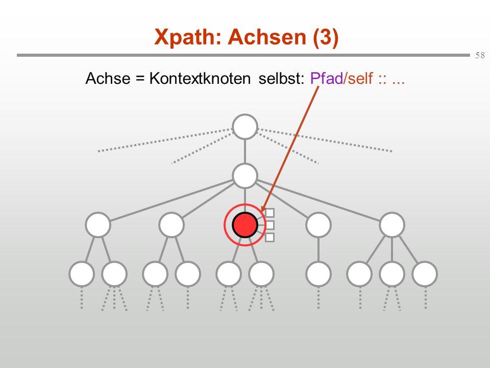 58 Xpath: Achsen (3) Achse = Kontextknoten selbst: Pfad/self ::...
