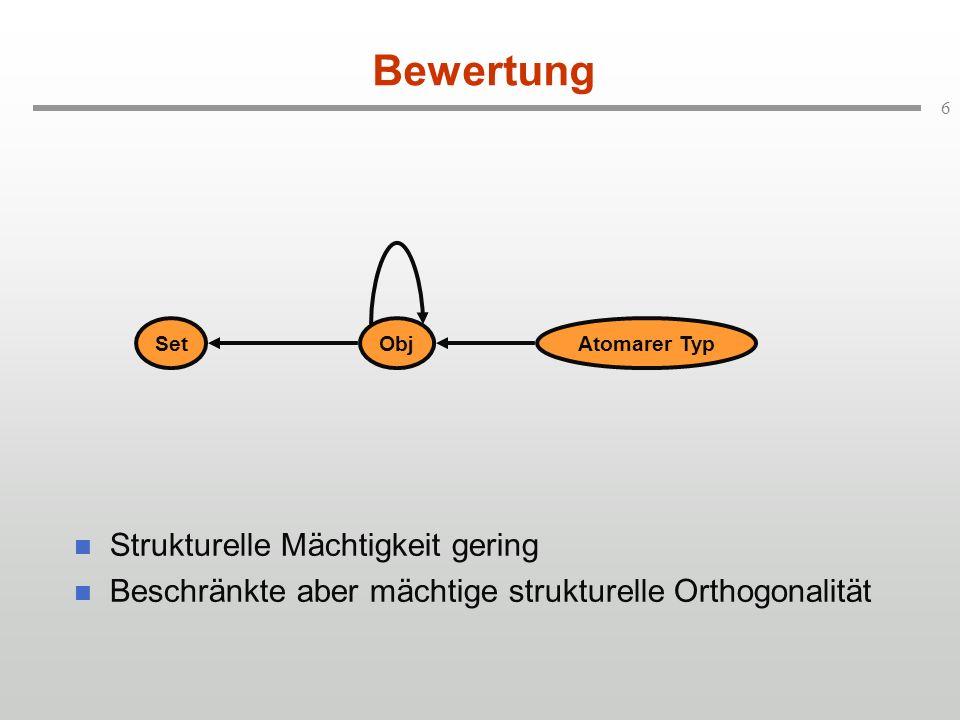 6 Bewertung Strukturelle Mächtigkeit gering Beschränkte aber mächtige strukturelle Orthogonalität SetObjAtomarer Typ