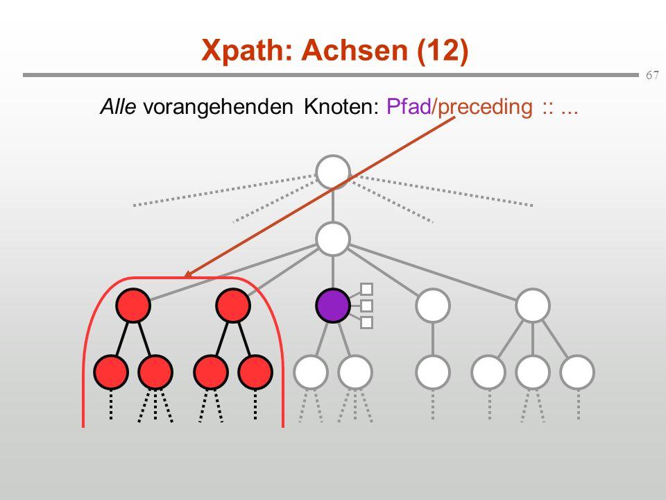 67 Xpath: Achsen (12) Alle vorangehenden Knoten: Pfad/preceding ::...