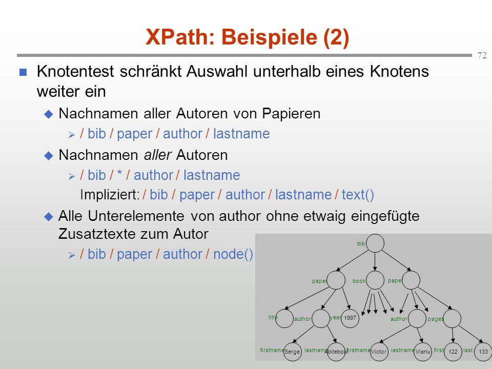 72 XPath: Beispiele (2) Knotentest schränkt Auswahl unterhalb eines Knotens weiter ein Nachnamen aller Autoren von Papieren / bib / paper / author / l