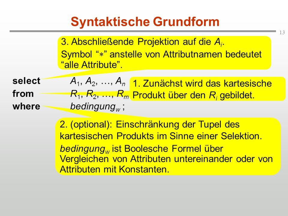 13 2. (optional): Einschränkung der Tupel des kartesischen Produkts im Sinne einer Selektion. bedingung w ist Boolesche Formel über Vergleichen von At