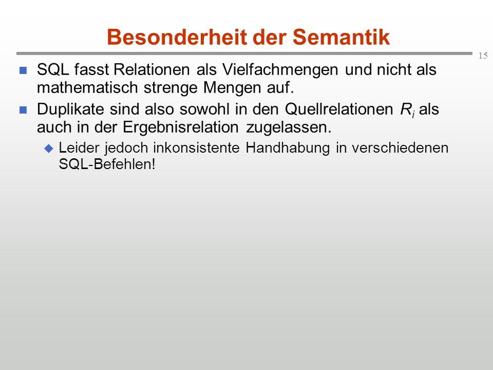 15 Besonderheit der Semantik SQL fasst Relationen als Vielfachmengen und nicht als mathematisch strenge Mengen auf. Duplikate sind also sowohl in den