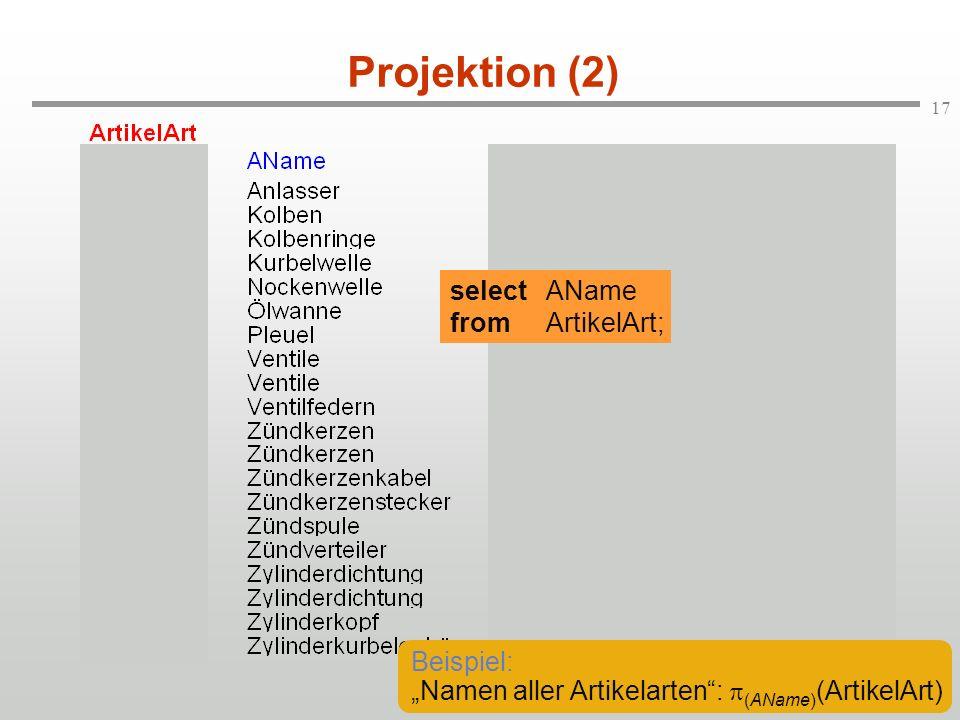 17 Projektion (2) selectAName fromArtikelArt; Beispiel: Namen aller Artikelarten: (AName) (ArtikelArt)