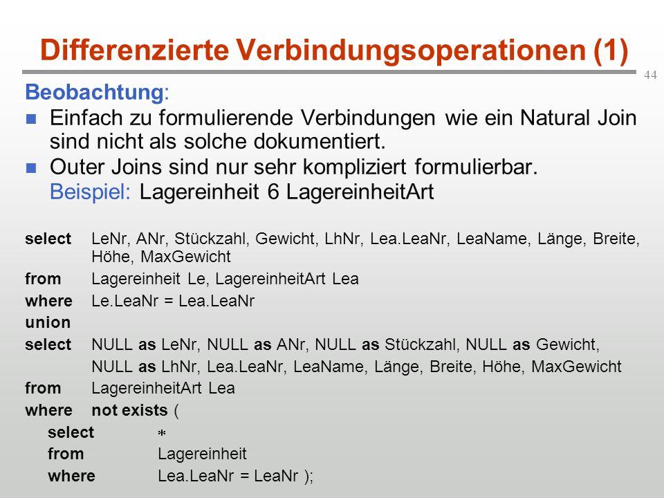 44 Differenzierte Verbindungsoperationen (1) Beobachtung: Einfach zu formulierende Verbindungen wie ein Natural Join sind nicht als solche dokumentier