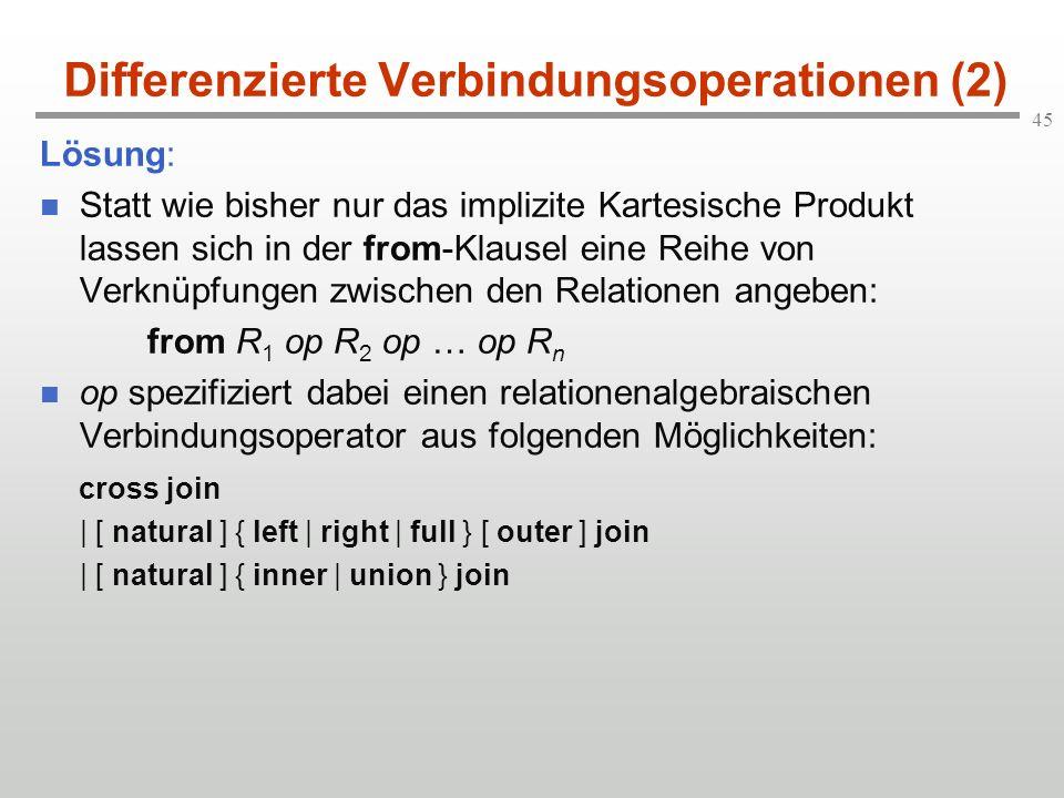 45 Differenzierte Verbindungsoperationen (2) Lösung: Statt wie bisher nur das implizite Kartesische Produkt lassen sich in der from-Klausel eine Reihe