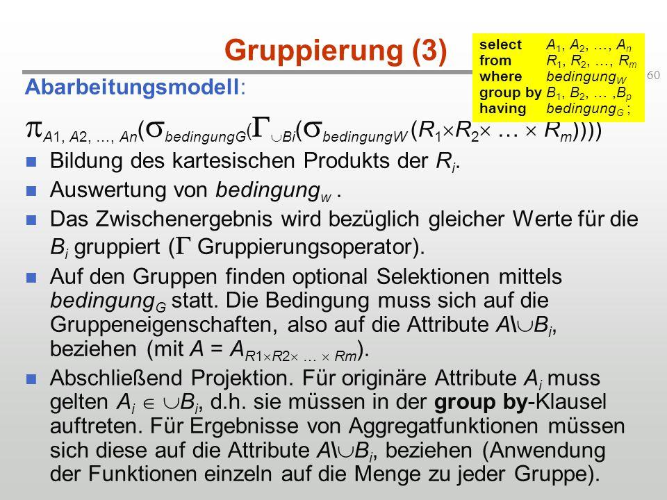 60 Gruppierung (3) Abarbeitungsmodell: A1, A2, …, An ( bedingungG ( Bi ( bedingungW (R 1 R 2 … R m )))) Bildung des kartesischen Produkts der R i. Aus