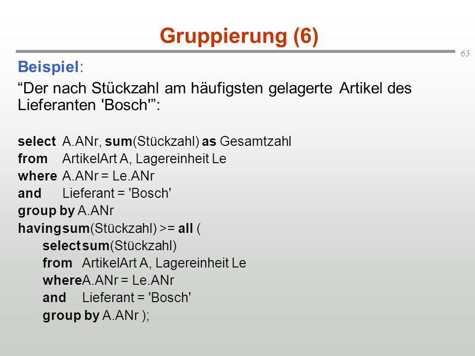 63 Gruppierung (6) Beispiel: Der nach Stückzahl am häufigsten gelagerte Artikel des Lieferanten 'Bosch': selectA.ANr, sum(Stückzahl) as Gesamtzahl fro