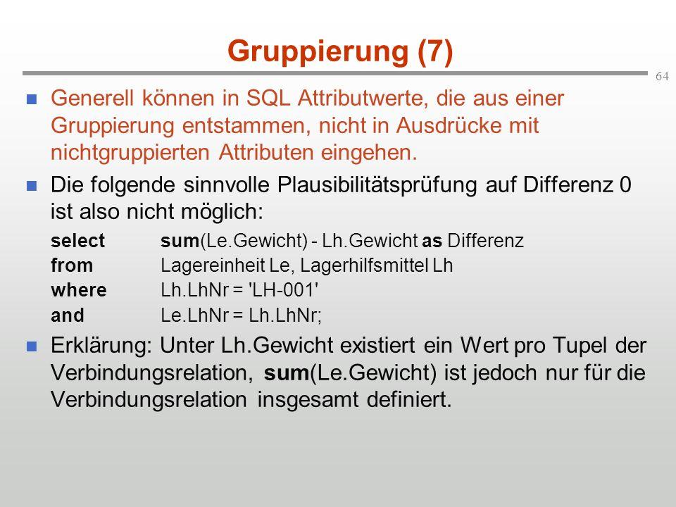 64 Gruppierung (7) Generell können in SQL Attributwerte, die aus einer Gruppierung entstammen, nicht in Ausdrücke mit nichtgruppierten Attributen eing