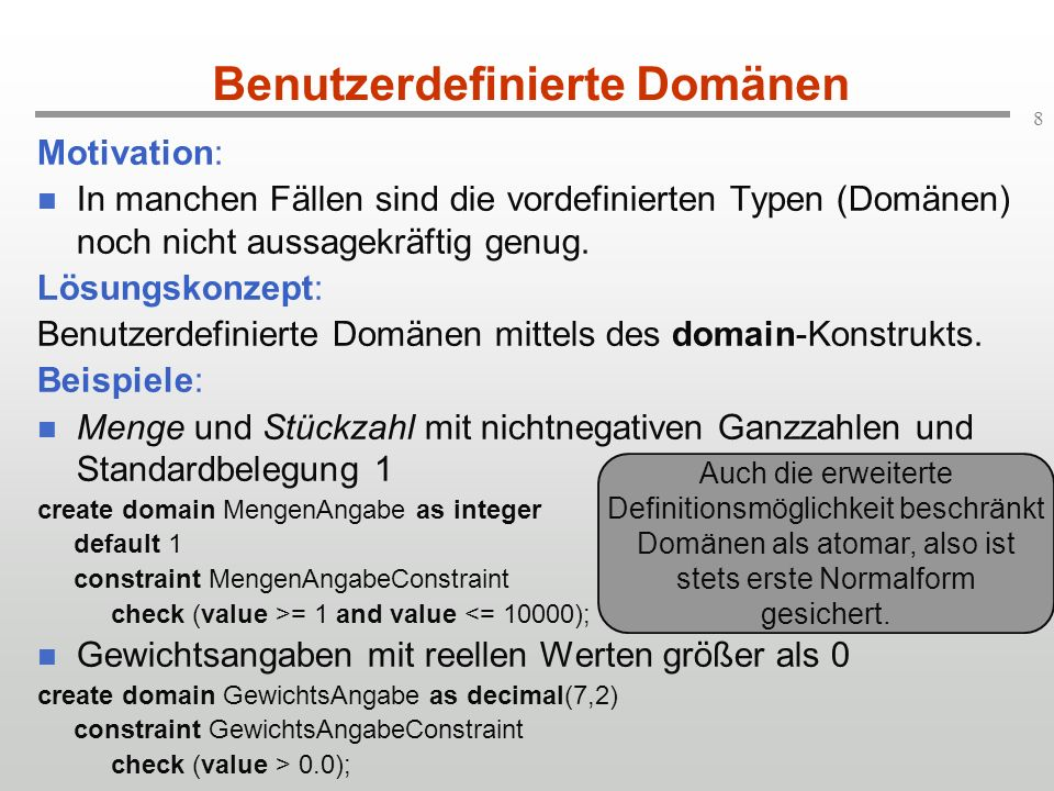 69 Zusammenfassung: select-Syntax (2) Allgemeine Form der select-Anweisung: select [distinct]item 1 [[as] A 1 ],..., item k [[as] A k ] fromtable-expr 1 [[as] R 1 ],..., table-expr l [[as] R l ] [wherecond-expr] [group bycol 1,..., col m ] [havingcond-expr] table-expr i ist eine der früher besprochenen Verbindungsoperationen.