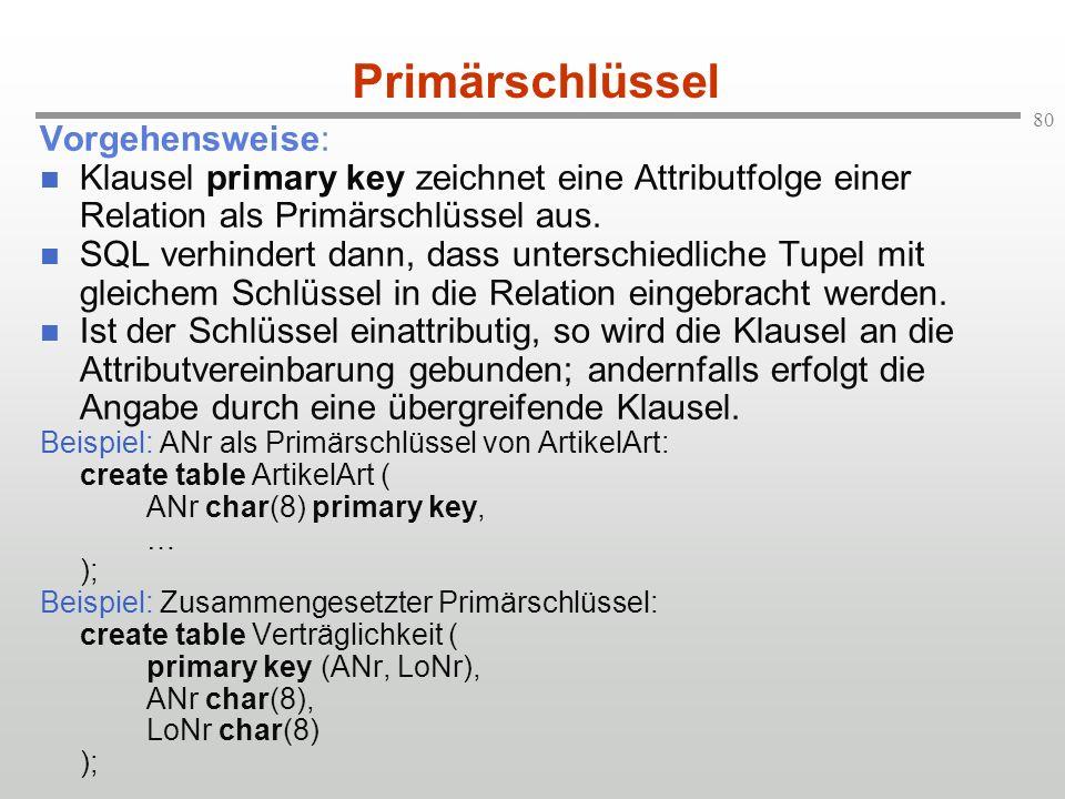 80 Primärschlüssel Vorgehensweise: Klausel primary key zeichnet eine Attributfolge einer Relation als Primärschlüssel aus. SQL verhindert dann, dass u