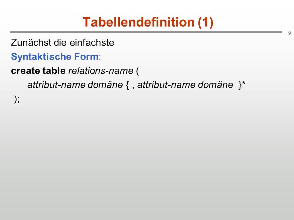 9 Tabellendefinition (1) Zunächst die einfachste Syntaktische Form: create table relations-name ( attribut-name domäne {, attribut-name domäne }* );