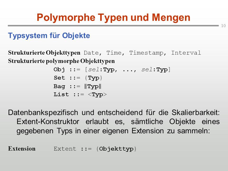 10 Polymorphe Typen und Mengen Typsystem für Objekte Strukturierte Objekttypen Date, Time, Timestamp, Interval Strukturierte polymorphe Objekttypen Ob
