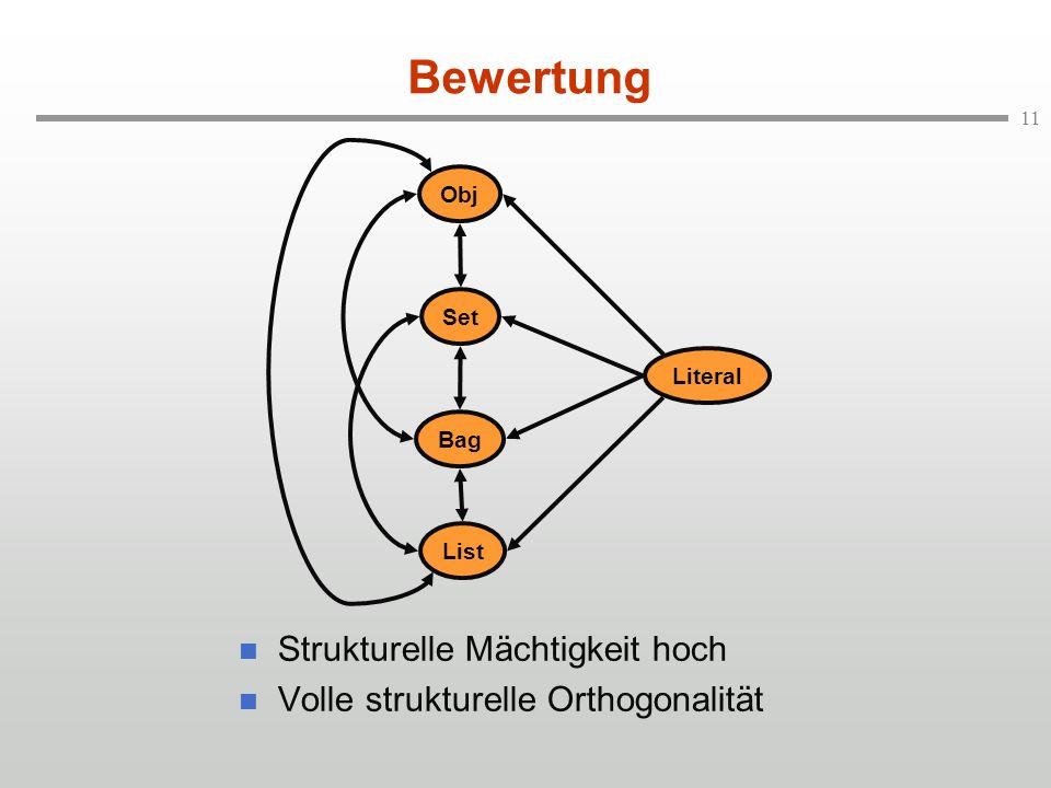 11 Bewertung Strukturelle Mächtigkeit hoch Volle strukturelle Orthogonalität Set Obj Literal Bag List
