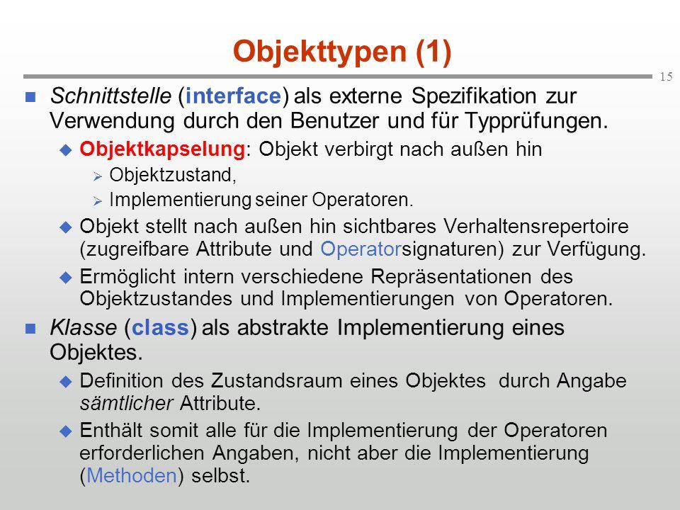 15 Objekttypen (1) Schnittstelle (interface) als externe Spezifikation zur Verwendung durch den Benutzer und für Typprüfungen. Objektkapselung: Objekt