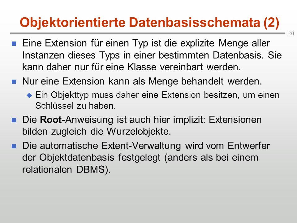 20 Objektorientierte Datenbasisschemata (2) Eine Extension für einen Typ ist die explizite Menge aller Instanzen dieses Typs in einer bestimmten Daten