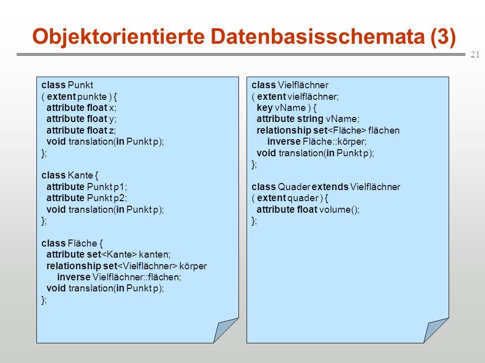 21 Objektorientierte Datenbasisschemata (3) class Punkt ( extent punkte ) { attribute float x; attribute float y; attribute float z; void translation(