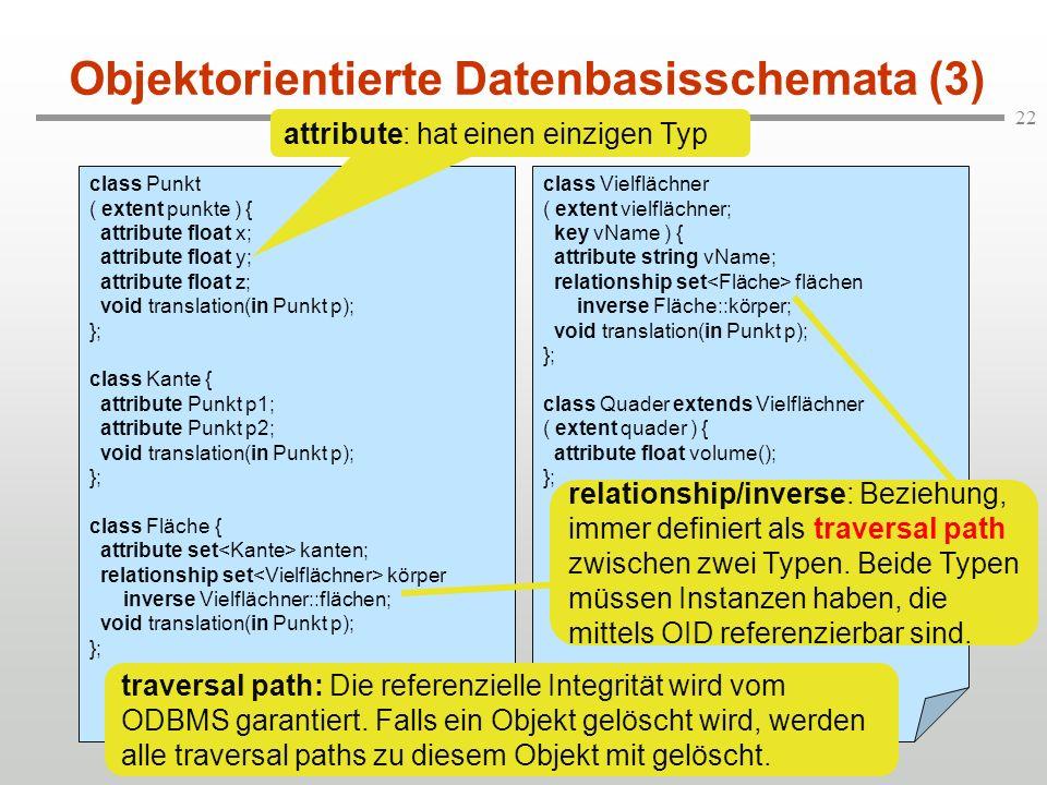 22 class Vielflächner ( extent vielflächner; key vName ) { attribute string vName; relationship set flächen inverse Fläche::körper; void translation(i