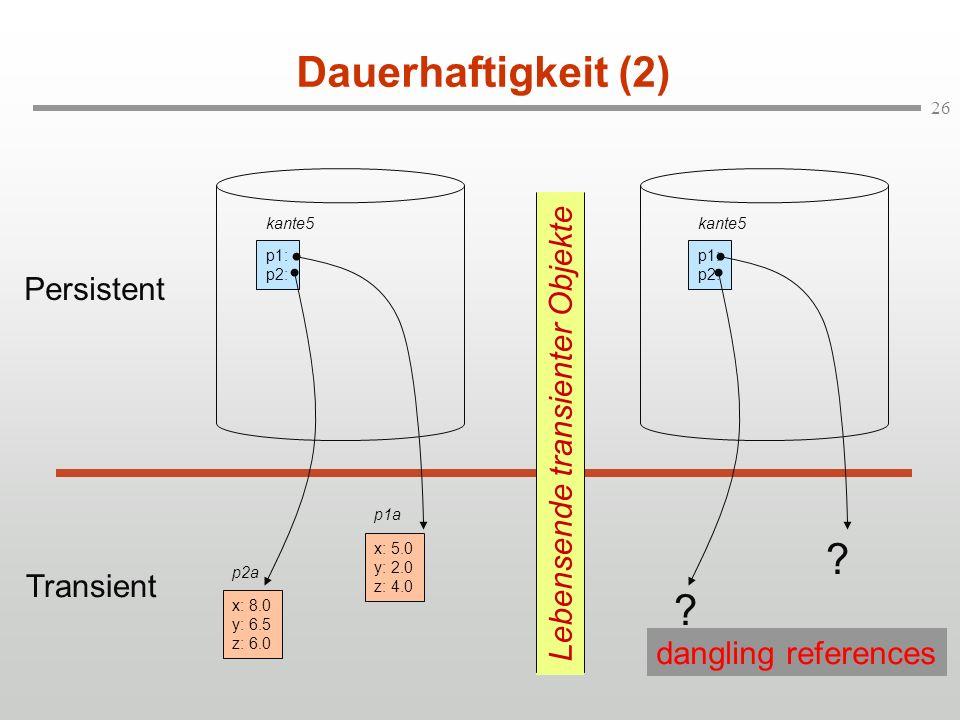 26 Dauerhaftigkeit (2) kante5 p1: p2: x: 8.0 y: 6.5 z: 6.0 p2a x: 5.0 y: 2.0 z: 4.0 p1a Lebensende transienter Objekte Persistent Transient ? ? kante5