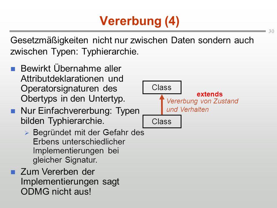 30 Vererbung (4) Gesetzmäßigkeiten nicht nur zwischen Daten sondern auch zwischen Typen: Typhierarchie. Class Vererbung von Zustand und Verhalten exte