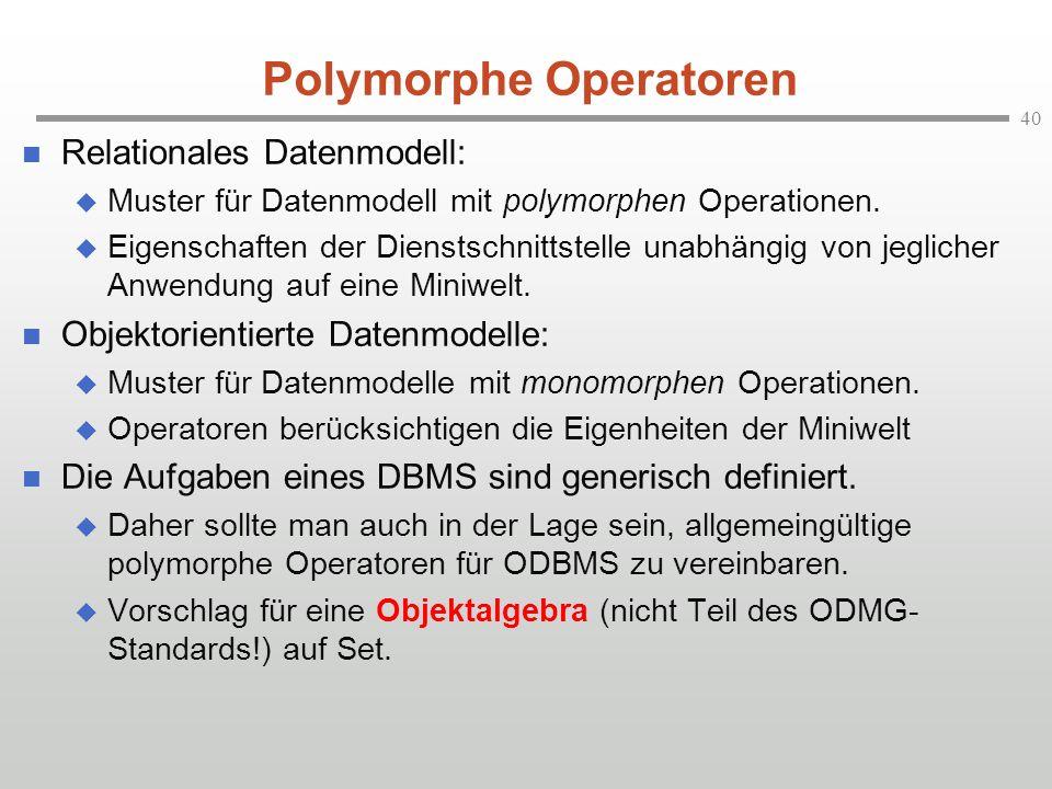 40 Polymorphe Operatoren Relationales Datenmodell: Muster für Datenmodell mit polymorphen Operationen. Eigenschaften der Dienstschnittstelle unabhängi