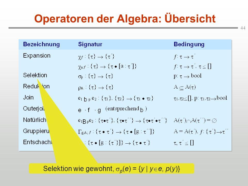 44 Operatoren der Algebra: Übersicht Selektion wie gewohnt, p (e) = {y | y e, p(y)}