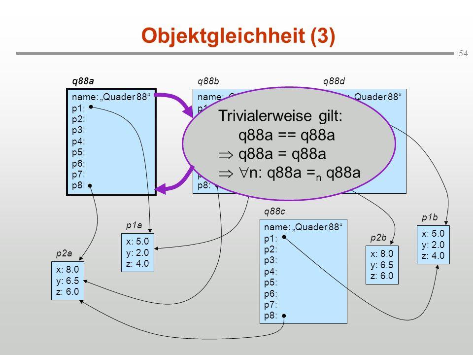 54 Objektgleichheit (3) q88a name: Quader 88 p1: p2: p3: p4: p5: p6: p7: p8: q88b name: Quader 88 p1: p2: p3: p4: p5: p6: p7: p8: q88d name: Quader 88