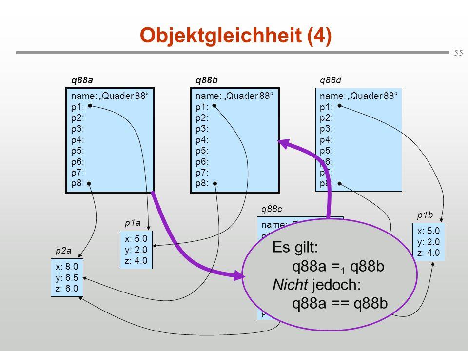 55 Objektgleichheit (4) q88a name: Quader 88 p1: p2: p3: p4: p5: p6: p7: p8: q88b name: Quader 88 p1: p2: p3: p4: p5: p6: p7: p8: q88d name: Quader 88