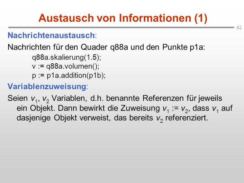 62 Austausch von Informationen (1) Nachrichtenaustausch: Nachrichten für den Quader q88a und den Punkte p1a: q88a.skalierung(1.5); v := q88a.volumen()