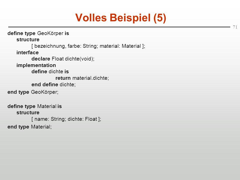 71 Volles Beispiel (5) define type GeoKörper is structure [ bezeichnung, farbe: String; material: Material ]; interface declare Float dichte(void); im