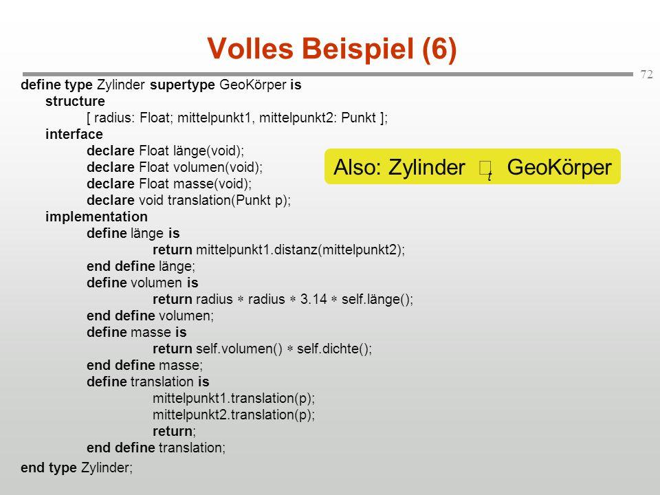 72 Volles Beispiel (6) define type Zylinder supertype GeoKörper is structure [ radius: Float; mittelpunkt1, mittelpunkt2: Punkt ]; interface declare F