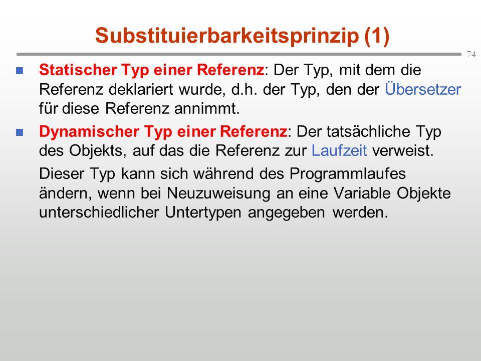 74 Substituierbarkeitsprinzip (1) Statischer Typ einer Referenz: Der Typ, mit dem die Referenz deklariert wurde, d.h. der Typ, den der Übersetzer für