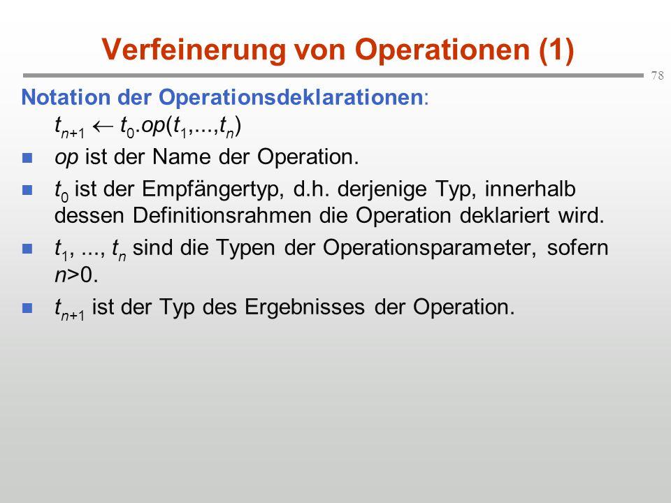 78 Verfeinerung von Operationen (1) Notation der Operationsdeklarationen: t n+1 t 0.op(t 1,...,t n ) op ist der Name der Operation. t 0 ist der Empfän