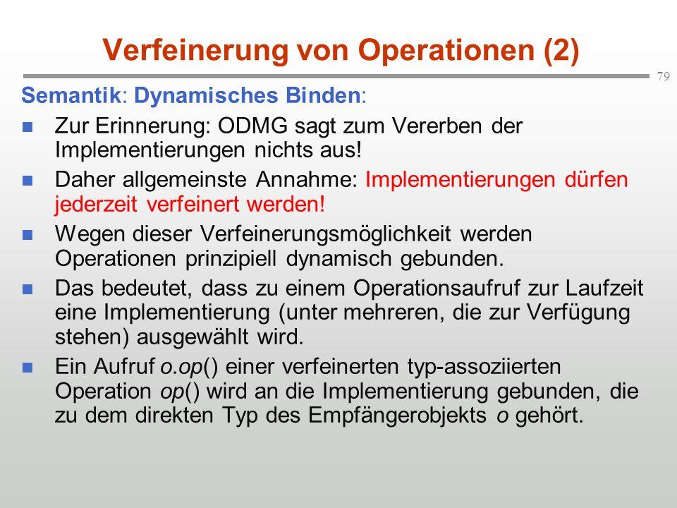 79 Verfeinerung von Operationen (2) Semantik: Dynamisches Binden: Zur Erinnerung: ODMG sagt zum Vererben der Implementierungen nichts aus! Daher allge