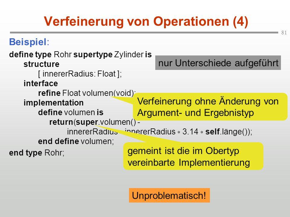 81 Verfeinerung von Operationen (4) Beispiel: define type Rohr supertype Zylinder is structure [ innererRadius: Float ]; interface refine Float volume
