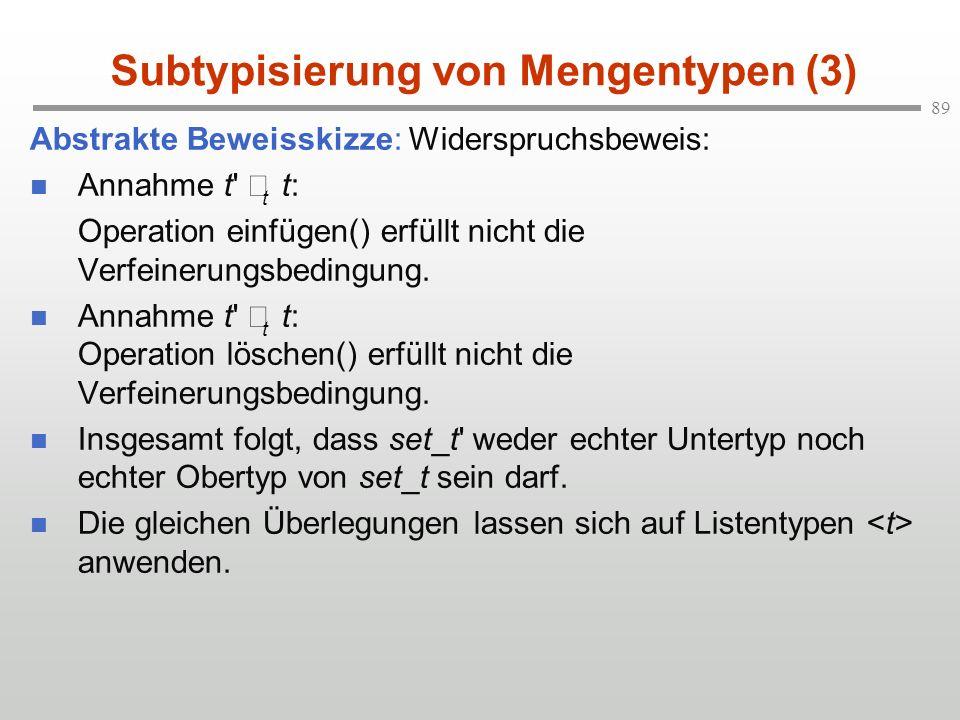 89 Subtypisierung von Mengentypen (3) Abstrakte Beweisskizze: Widerspruchsbeweis: Annahme t' t t: Operation einfügen() erfüllt nicht die Verfeinerungs