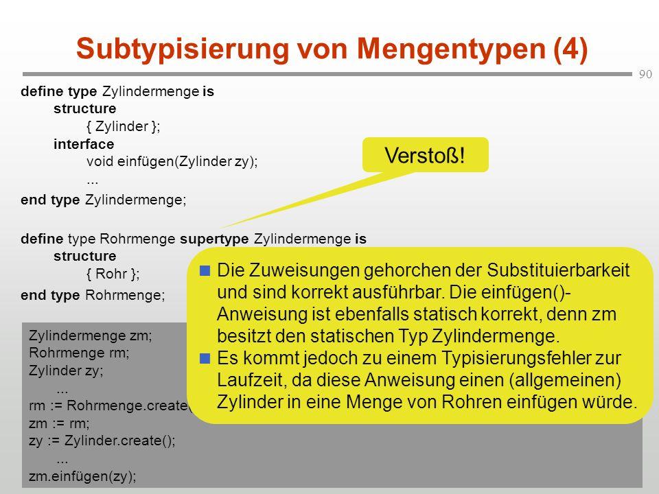 90 Subtypisierung von Mengentypen (4) define type Zylindermenge is structure { Zylinder }; interface void einfügen(Zylinder zy);... end type Zylinderm
