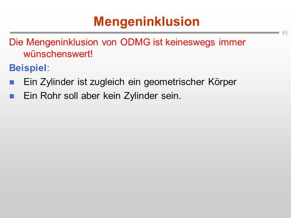 91 Mengeninklusion Die Mengeninklusion von ODMG ist keineswegs immer wünschenswert! Beispiel: Ein Zylinder ist zugleich ein geometrischer Körper Ein R