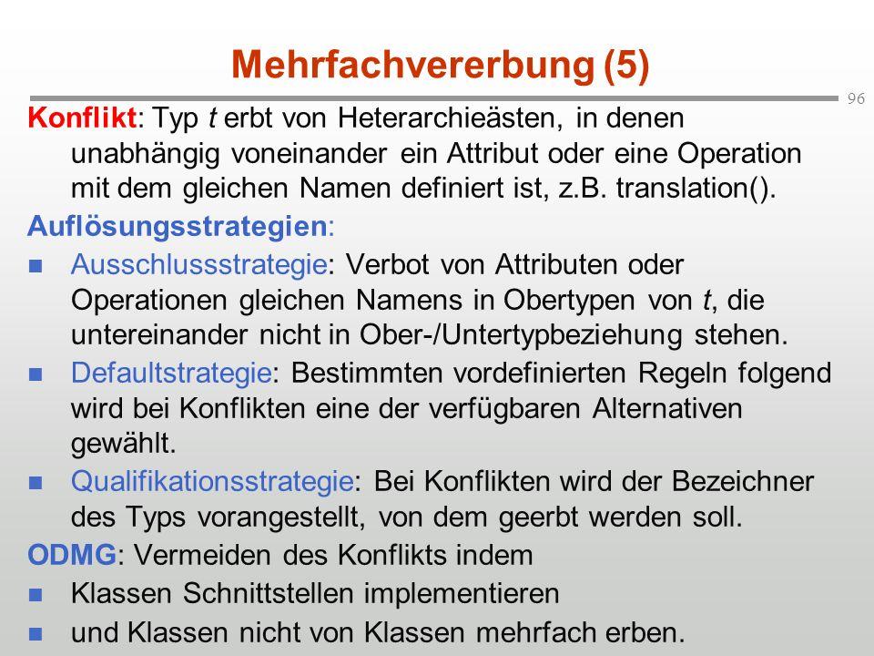 96 Mehrfachvererbung (5) Konflikt: Typ t erbt von Heterarchieästen, in denen unabhängig voneinander ein Attribut oder eine Operation mit dem gleichen