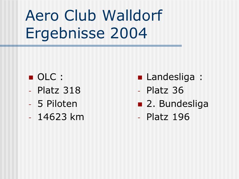 Aero Club Walldorf Ergebnisse 2004 OLC : - Platz 318 - 5 Piloten - 14623 km Landesliga : - Platz 36 2. Bundesliga - Platz 196