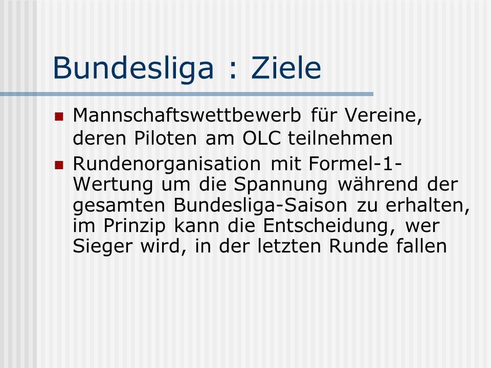 Bundesliga : Wertung (I) Pro Runde wird die Summe der drei schnellsten indexberichtigten Einzelgeschwindigkeiten, mit der verschiedene Piloten eines Vereins eine OLC SPRINT-Aufgabe absolvierten, gewertet Der Verein mit der höchsten Gesamt- Geschwindigkeit erhält zwei Punkte je teilnehmenden Verein dieser Runde.