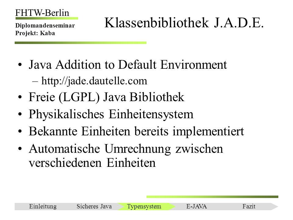 Einleitung FHTW-Berlin Diplomandenseminar Projekt: Kaba Klassenbibliothek J.A.D.E. Java Addition to Default Environment –http://jade.dautelle.com Frei