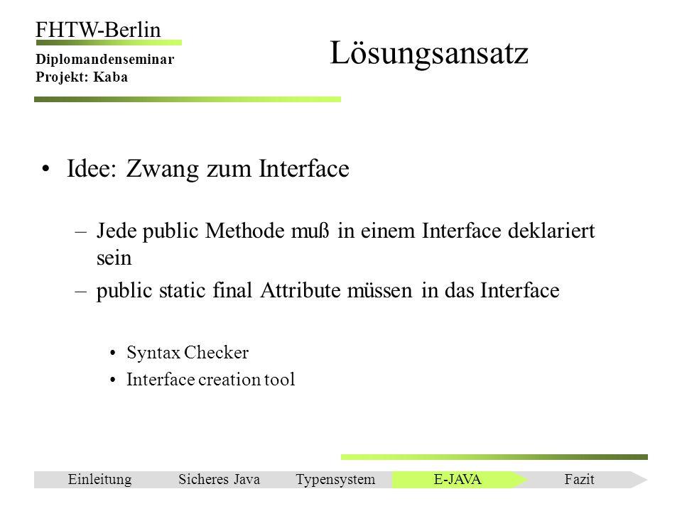 Einleitung FHTW-Berlin Diplomandenseminar Projekt: Kaba Lösungsansatz Idee: Zwang zum Interface –Jede public Methode muß in einem Interface deklariert