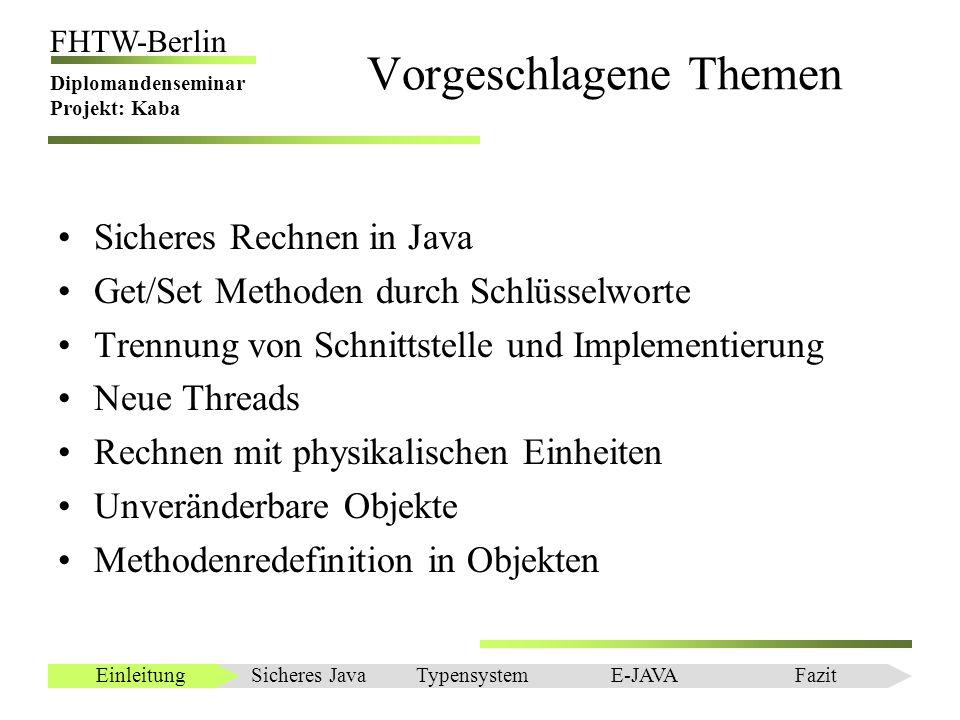 Einleitung FHTW-Berlin Diplomandenseminar Projekt: Kaba Fazit Einsatz verschiedenster Technologien: –Assembler –JIT –LUA –Attributorientierte Orientierung –Diverse Bibliotheken Sicheres JavaEinleitungTypensystemE-JAVAFazit