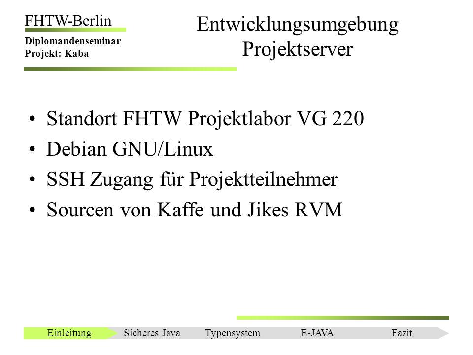 Einleitung FHTW-Berlin Diplomandenseminar Projekt: Kaba Entwicklungsumgebung Projektserver Standort FHTW Projektlabor VG 220 Debian GNU/Linux SSH Zuga