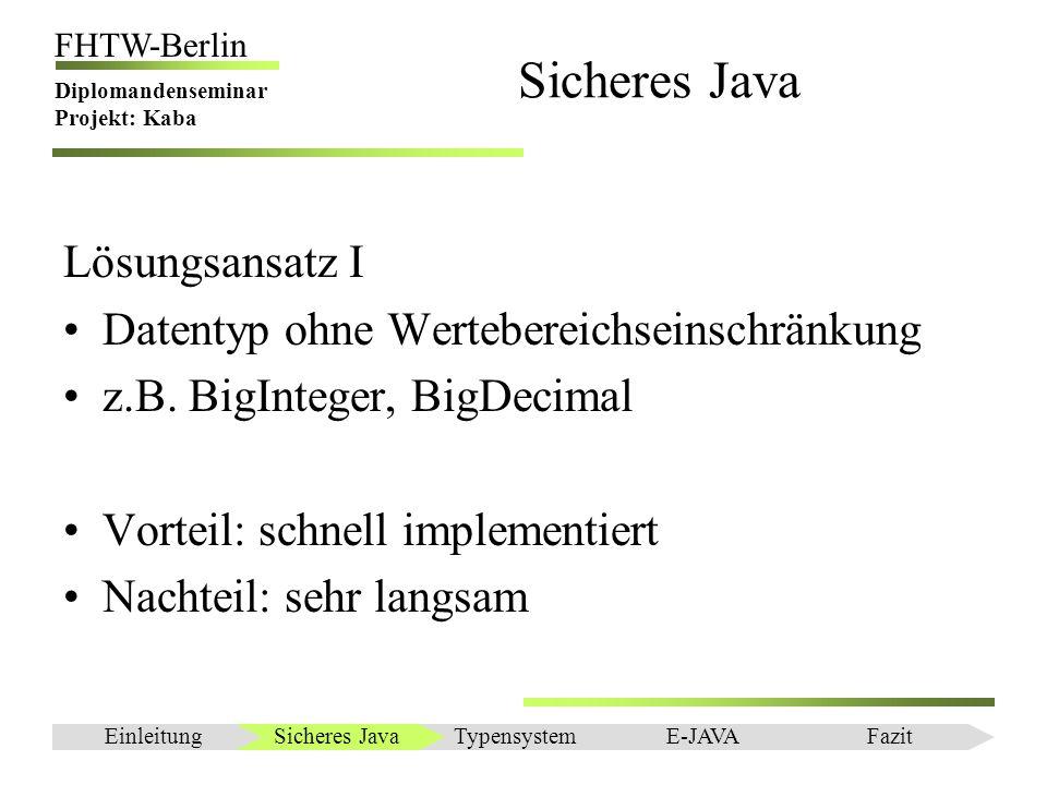 Einleitung FHTW-Berlin Diplomandenseminar Projekt: Kaba Sicheres Java Lösungsansatz IIa Auslesen des Overflow Flags der CPU Vorrausetzung: Rechenoperation in Assembler Notwendig: JNI – Java Native Interface Vorteil: schnell Nachteil: plattformabhängig Sicheres JavaEinleitungTypensystemE-JAVAFazit