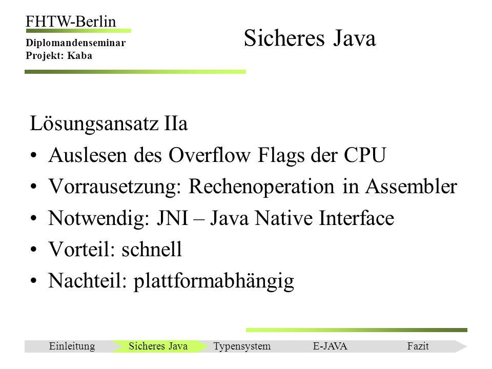 Einleitung FHTW-Berlin Diplomandenseminar Projekt: Kaba Sicheres Java Lösungsansatz IIb Implementieren der Lösung IIa direkt in VM An KaffeVM versucht Trotz Teilerfolgen an Komplexität der VM gescheitert Sicheres JavaEinleitungTypensystemE-JAVAFazit