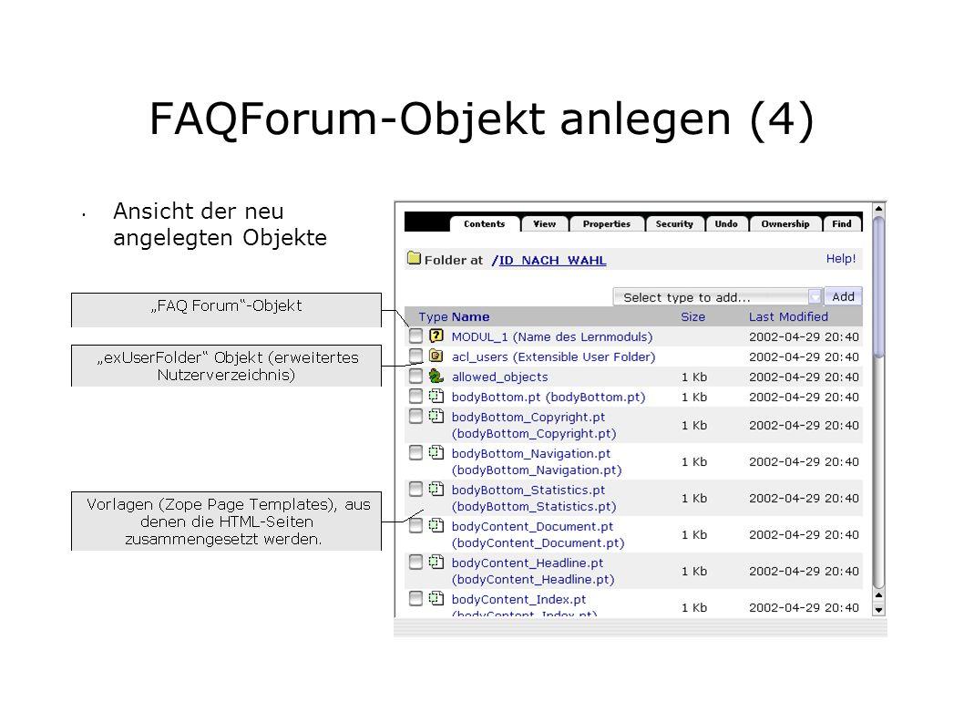 FAQForum-Objekt anlegen (4) Ansicht der neu angelegten Objekte