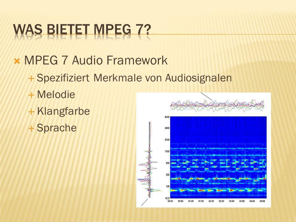 MPEG 7 Audio Framework Spezifiziert Merkmale von Audiosignalen Melodie Klangfarbe Sprache